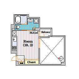 プロシード北堀江[4階]の間取り