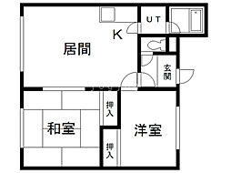 小島マンション 2階2LDKの間取り