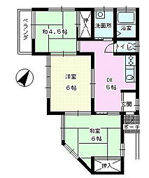 秋山レジデンス[2F号室]の間取り