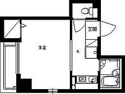 ドミールシャルマン 4階1Kの間取り