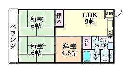 大阪府大阪市平野区加美鞍作3丁目の賃貸マンションの間取り