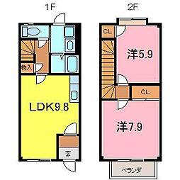 [テラスハウス] 愛知県碧南市浜田町2丁目 の賃貸【/】の間取り