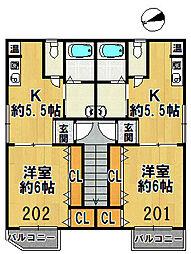 アライブコートKAMO[202号室]の間取り