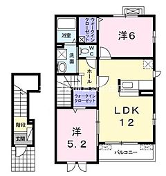 岡山県倉敷市連島町鶴新田丁目なしの賃貸アパートの間取り