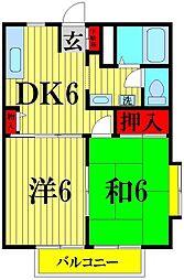 埼玉県越谷市花田7の賃貸アパートの間取り