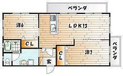 菊ヶ丘ハイツ[401号室]の間取り
