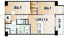 ネクステージ三萩野[4階]の間取り