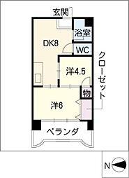 第3宮地マンション記念橋[8階]の間取り