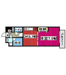 JR仙山線 北仙台駅 徒歩6分の賃貸マンション 13階1DKの間取り