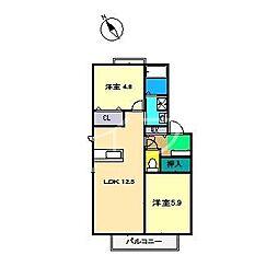 ラ・ベルターナII A棟[1階]の間取り
