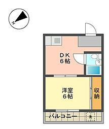 愛知県長久手市山野田の賃貸マンションの間取り