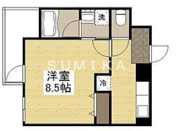 THE MODERN 京町 4階1Kの間取り