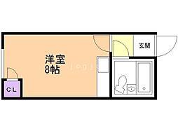 リバーサイド14 4階ワンルームの間取り