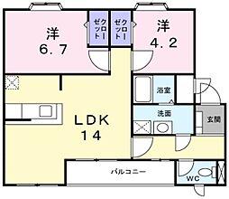 兵庫県神戸市西区玉津町二ツ屋の賃貸マンションの間取り