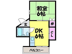 愛媛県松山市小栗5丁目の賃貸マンションの間取り