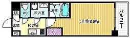 JR東西線 海老江駅 徒歩14分の賃貸マンション 7階1Kの間取り