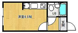 京都府京都市右京区嵯峨野清水町の賃貸アパートの間取り