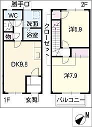[タウンハウス] 愛知県小牧市小木4丁目 の賃貸【愛知県 / 小牧市】の間取り