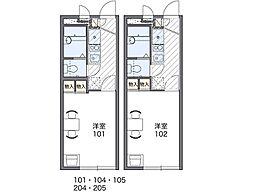 京阪本線 寝屋川市駅 徒歩16分の賃貸アパート 2階1Kの間取り