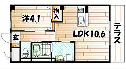 福岡県北九州市八幡西区御開4丁目の賃貸マンションの間取り