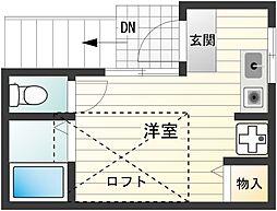 マカロニほうれん荘[201号室]の間取り