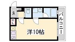 ワコーレヴィアーノ須磨関守町 2階ワンルームの間取り
