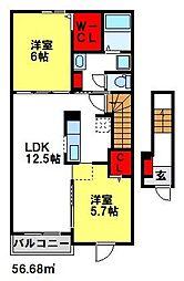 福岡県小郡市稲吉の賃貸アパートの間取り