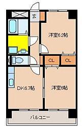 松橋マンション[410号室]の間取り