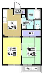 メイプルハウスABCD[2階]の間取り