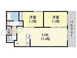 札幌市電2系統 西線9条旭山公園通駅 徒歩5分の賃貸マンション 2階2LDKの間取り