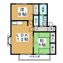 スプリングガーデンD[2階]の間取り