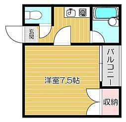 京阪本線 西三荘駅 徒歩8分の賃貸マンション 4階ワンルームの間取り