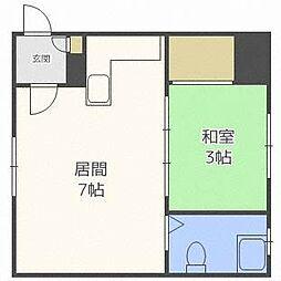北海道札幌市中央区南十条西13丁目の賃貸アパートの間取り