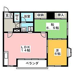 YFハイツB[1階]の間取り