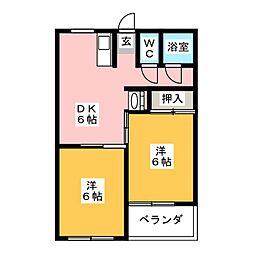 レジデンスひまわり[4階]の間取り