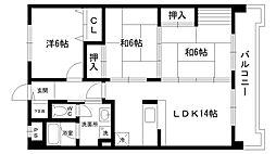 兵庫県西宮市寿町の賃貸マンションの間取り