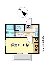 兵庫県神戸市北区鈴蘭台南町6丁目の賃貸アパートの間取り