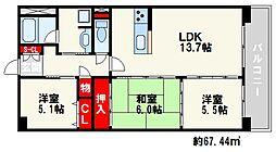 福岡県福岡市城南区別府3丁目の賃貸マンションの間取り