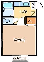 ドミナスA・B[A104号室]の間取り