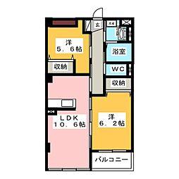 レジアスハイム遼仙III[2階]の間取り