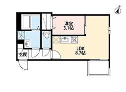近鉄名古屋線 烏森駅 徒歩5分の賃貸アパート 3階1LDKの間取り