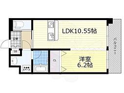 阪急宝塚本線 豊中駅 徒歩4分の賃貸マンション 9階1LDKの間取り