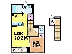 愛媛県松山市松末2丁目の賃貸アパートの間取り