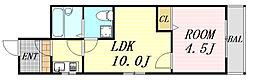 シャトー南森町 8階1LDKの間取り