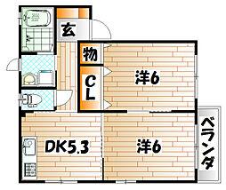 カサベルデ秋桜 B棟[2階]の間取り