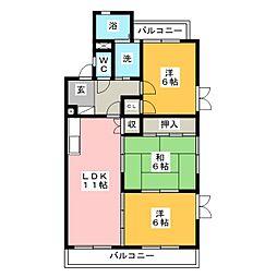 ロワイヤルA(アー)[1階]の間取り