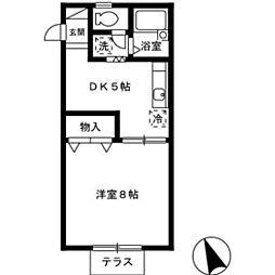 コーポ・アイリス[1階]の間取り