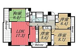 千葉県印西市小倉台1丁目の賃貸マンションの間取り