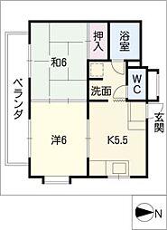 中砂ハイツ[4階]の間取り