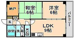 兵庫県伊丹市宮ノ前2丁目の賃貸マンションの間取り